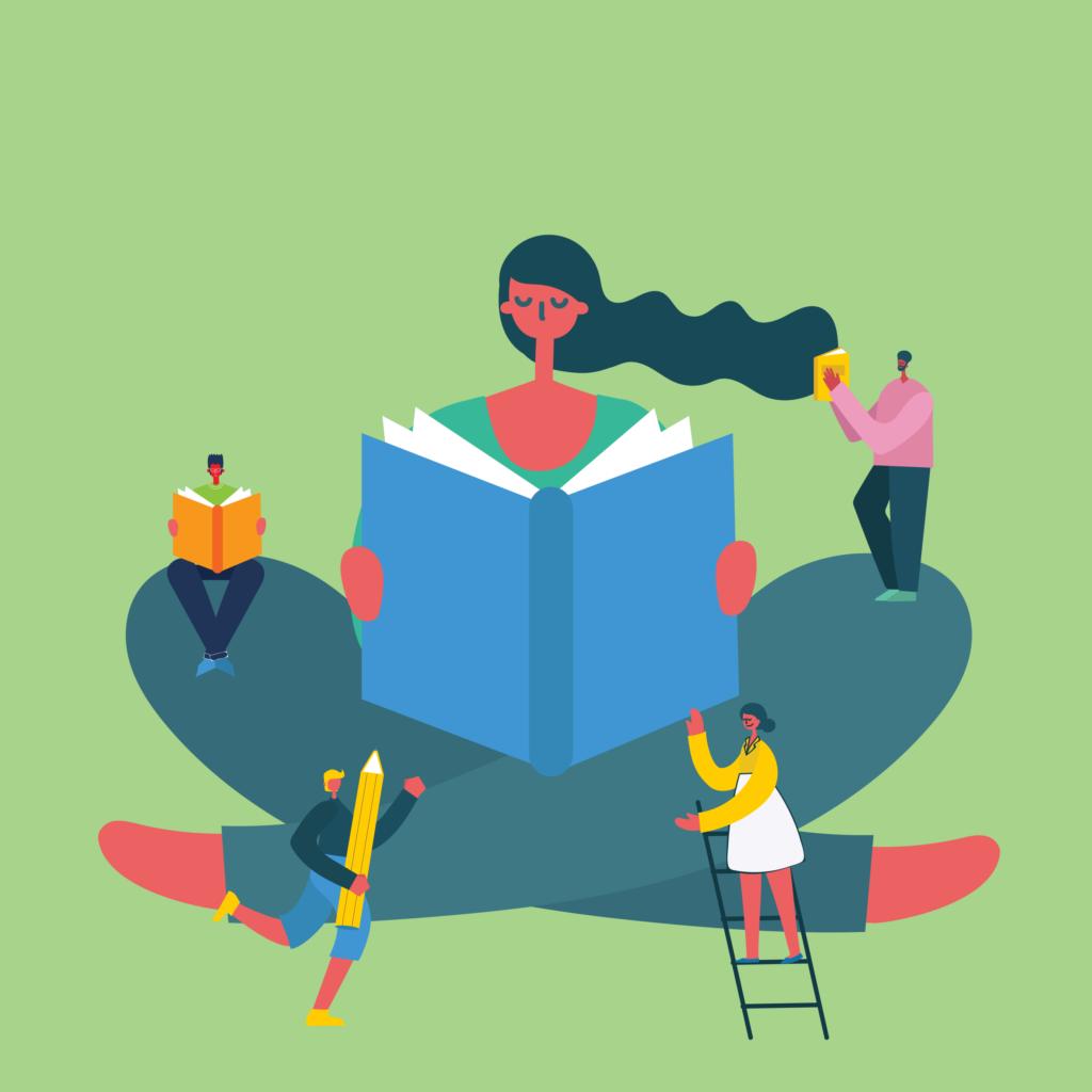 Illustration of girl reading